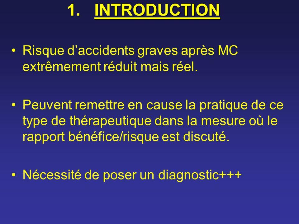 1.INTRODUCTION Risque daccidents graves après MC extrêmement réduit mais réel. Peuvent remettre en cause la pratique de ce type de thérapeutique dans