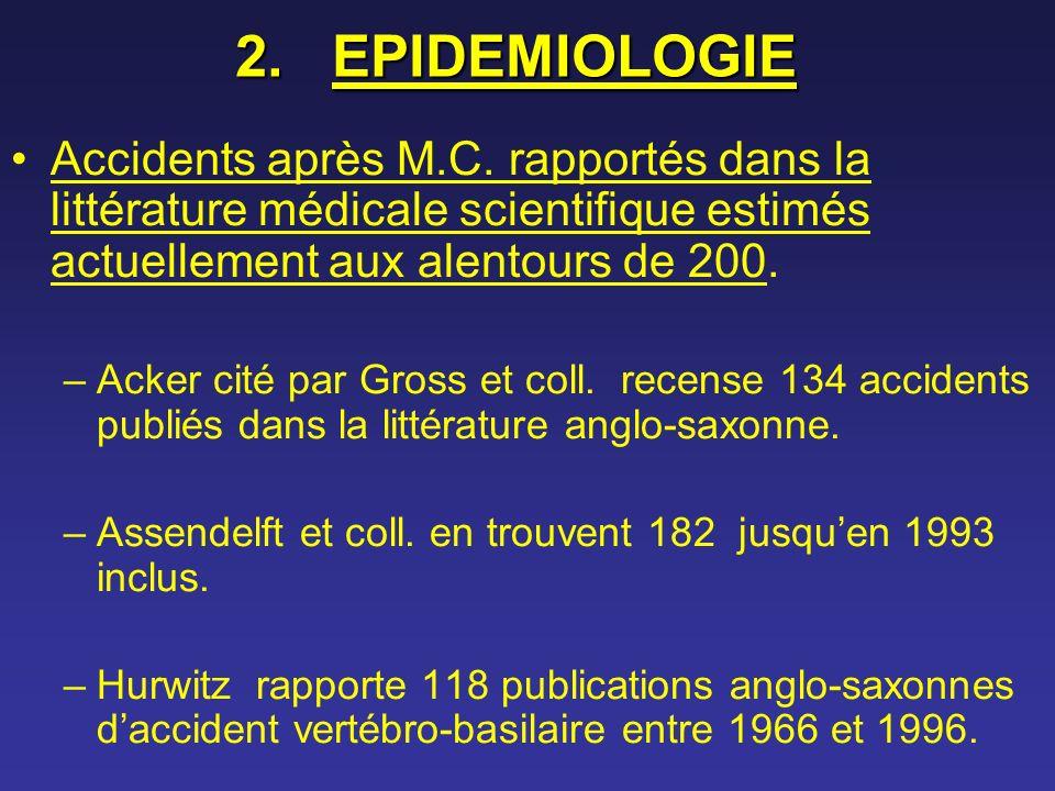 2.EPIDEMIOLOGIE Accidents après M.C. rapportés dans la littérature médicale scientifique estimés actuellement aux alentours de 200. –Acker cité par Gr