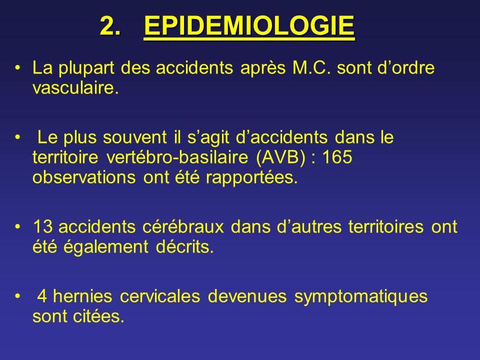 2.EPIDEMIOLOGIE La plupart des accidents après M.C. sont dordre vasculaire. Le plus souvent il sagit daccidents dans le territoire vertébro-basilaire