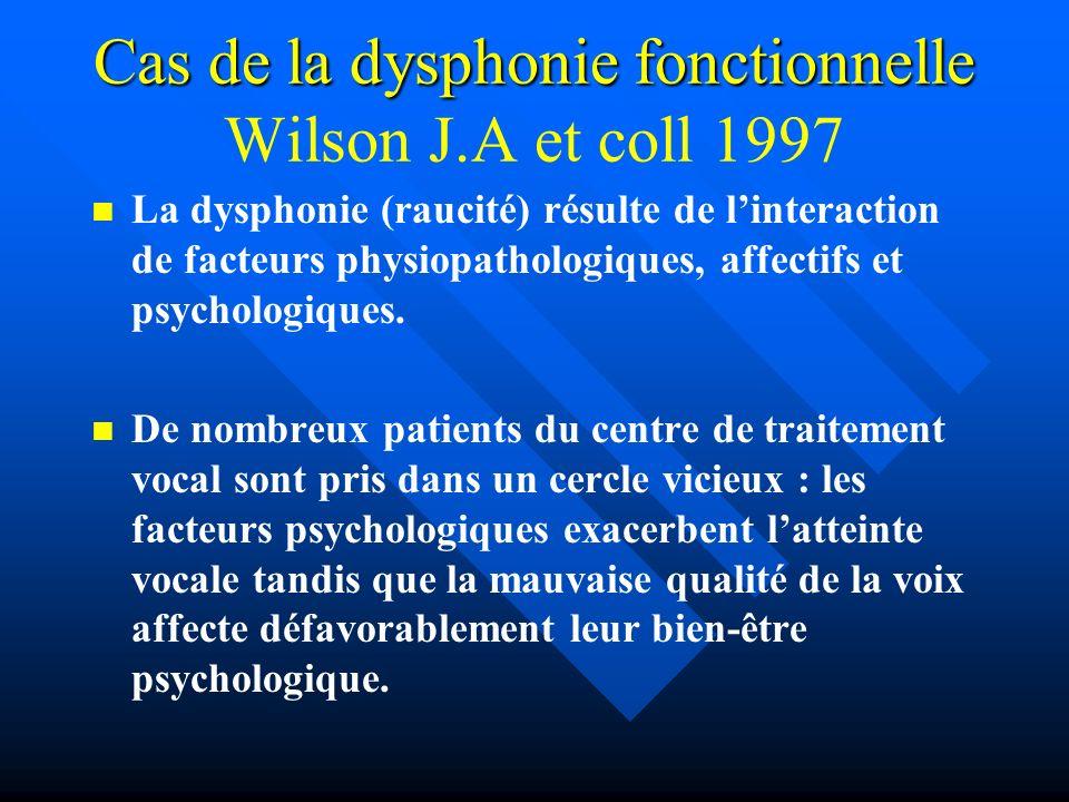 Cas de la dysphonie fonctionnelle Cas de la dysphonie fonctionnelle Wilson J.A et coll 1997 La dysphonie (raucité) résulte de linteraction de facteurs