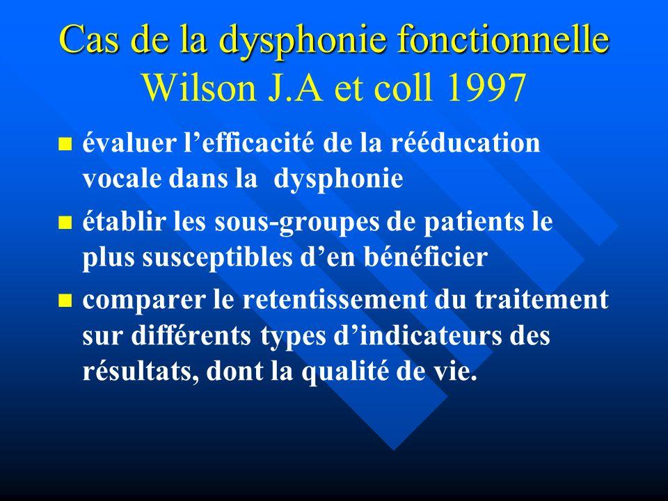 Cas de la dysphonie fonctionnelle Cas de la dysphonie fonctionnelle Wilson J.A et coll 1997 évaluer lefficacité de la rééducation vocale dans la dysph