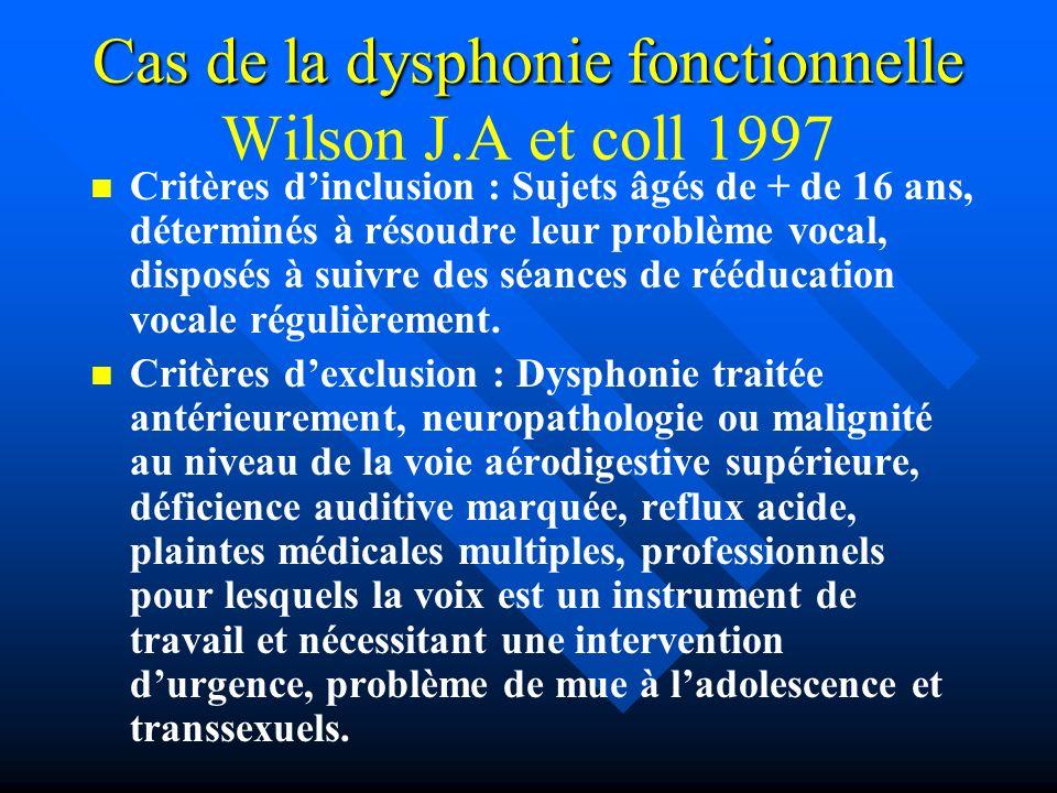 Cas de la dysphonie fonctionnelle Cas de la dysphonie fonctionnelle Wilson J.A et coll 1997 Critères dinclusion : Sujets âgés de + de 16 ans, détermin