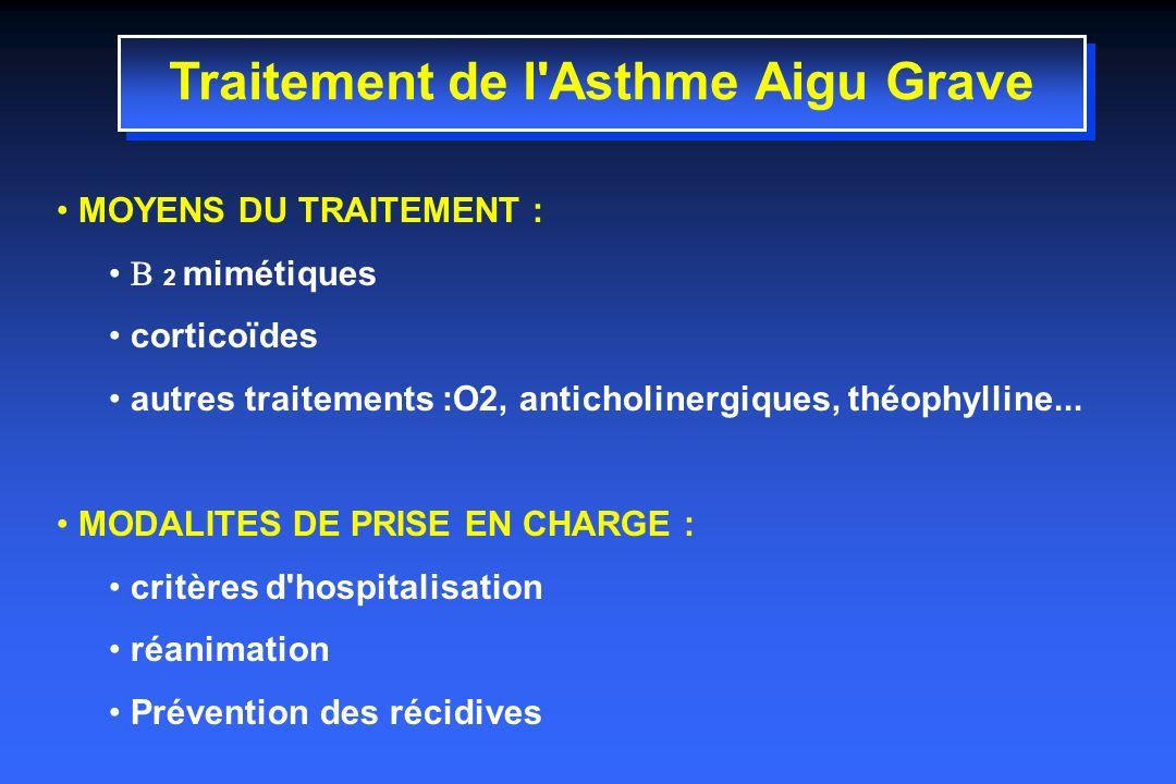 Traitement de l Asthme Aigu Grave MOYENS DU TRAITEMENT : 2 mimétiques corticoïdes autres traitements :O2, anticholinergiques, théophylline...