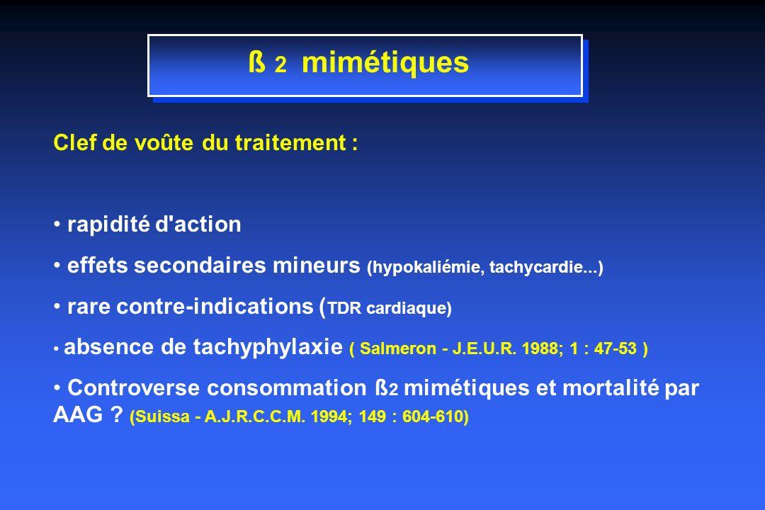 ß 2 mimétiques Clef de voûte du traitement : rapidité d action effets secondaires mineurs (hypokaliémie, tachycardie...) rare contre-indications ( TDR cardiaque) absence de tachyphylaxie ( Salmeron - J.E.U.R.