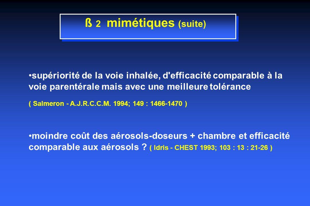 ß 2 mimétiques (suite) supériorité de la voie inhalée, d efficacité comparable à la voie parentérale mais avec une meilleure tolérance ( Salmeron - A.J.R.C.C.M.