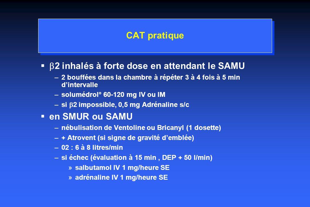 CAT pratique 2 inhalés à forte dose en attendant le SAMU –2 bouffées dans la chambre à répéter 3 à 4 fois à 5 min dintervalle –solumédrol° 60-120 mg IV ou IM –si 2 impossible, 0,5 mg Adrénaline s/c en SMUR ou SAMU –nébulisation de Ventoline ou Bricanyl (1 dosette) –+ Atrovent (si signe de gravité demblée) –02 : 6 à 8 litres/min –si échec (évaluation à 15 min, DEP + 50 l/min) »salbutamol IV 1 mg/heure SE »adrénaline IV 1 mg/heure SE