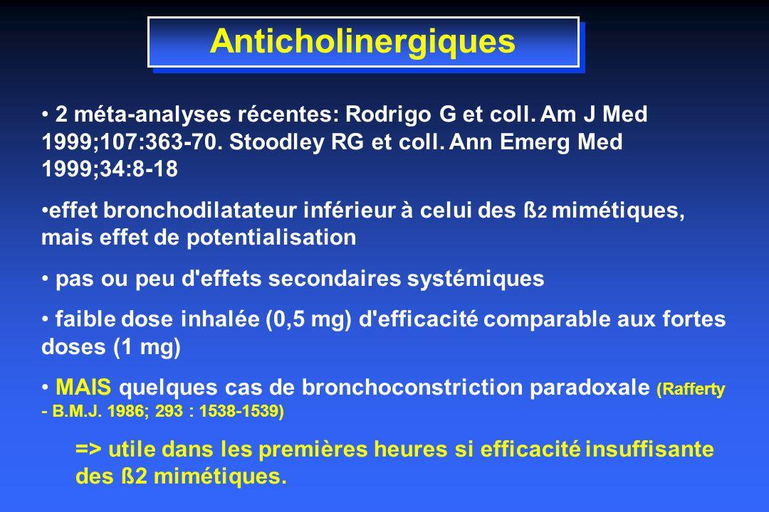 Anticholinergiques 2 méta-analyses récentes: Rodrigo G et coll.