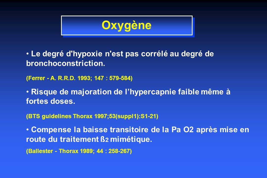 Oxygène Le degré d hypoxie n est pas corrélé au degré de bronchoconstriction.