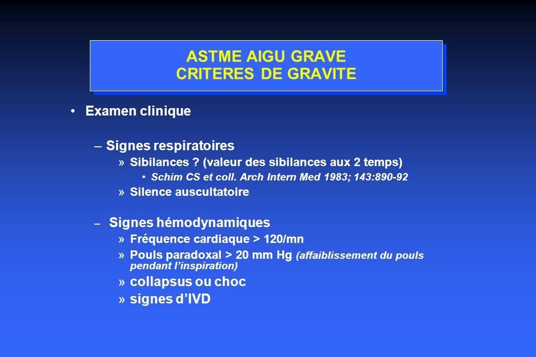 ASTME AIGU GRAVE CRITERES DE GRAVITE Examen clinique –Signes respiratoires »Sibilances .