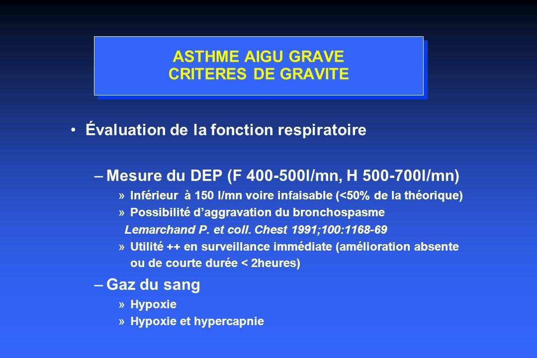 ASTHME AIGU GRAVE CRITERES DE GRAVITE Évaluation de la fonction respiratoire –Mesure du DEP (F 400-500l/mn, H 500-700l/mn) »Inférieur à 150 l/mn voire infaisable (<50% de la théorique) »Possibilité daggravation du bronchospasme Lemarchand P.