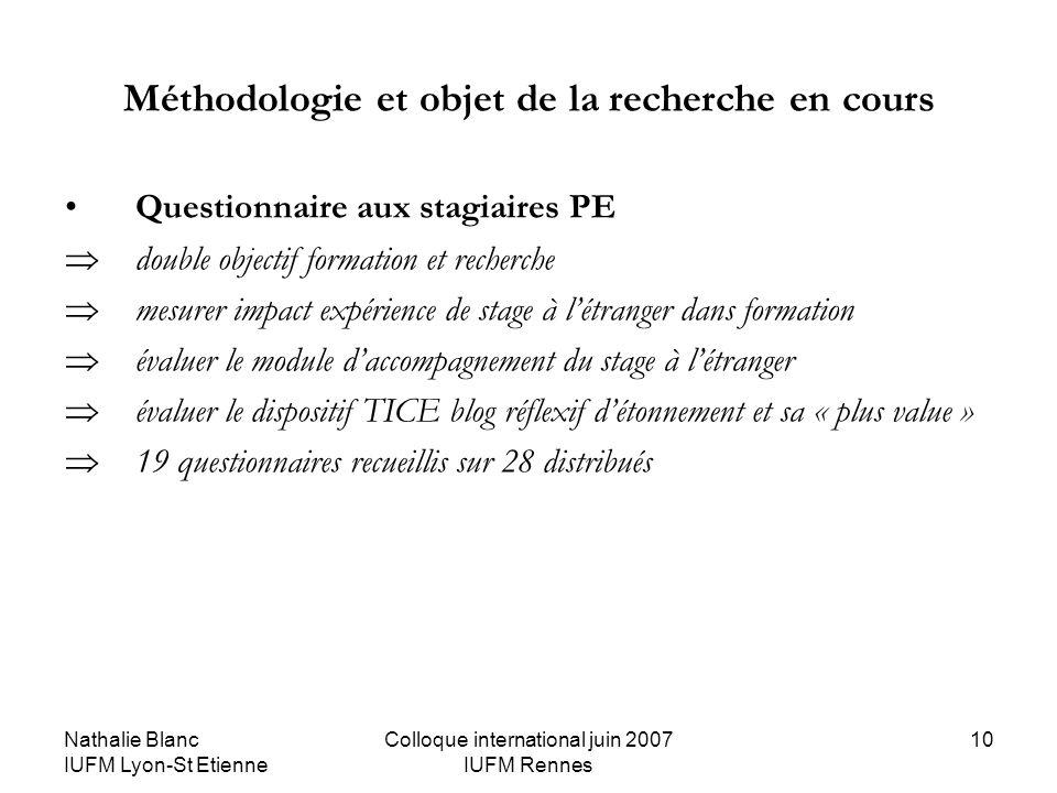 Nathalie Blanc IUFM Lyon-St Etienne Colloque international juin 2007 IUFM Rennes 10 Méthodologie et objet de la recherche en cours Questionnaire aux s