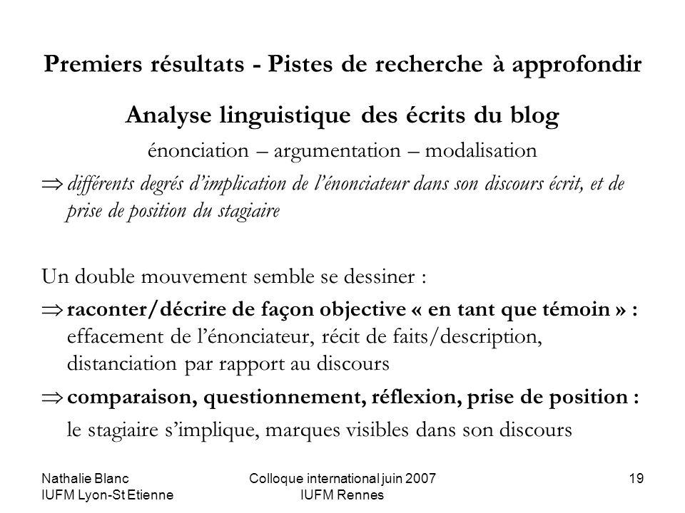 Nathalie Blanc IUFM Lyon-St Etienne Colloque international juin 2007 IUFM Rennes 19 Premiers résultats - Pistes de recherche à approfondir Analyse lin