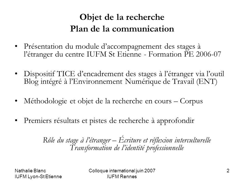 Nathalie Blanc IUFM Lyon-St Etienne Colloque international juin 2007 IUFM Rennes 2 Objet de la recherche Plan de la communication Présentation du modu