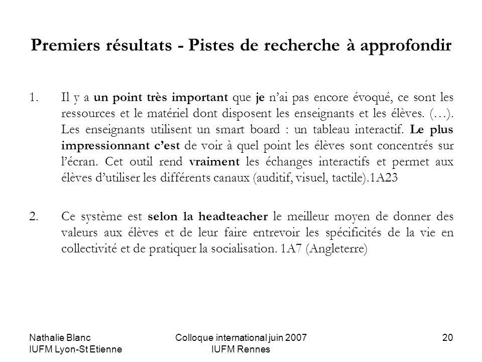 Nathalie Blanc IUFM Lyon-St Etienne Colloque international juin 2007 IUFM Rennes 20 Premiers résultats - Pistes de recherche à approfondir 1.Il y a un