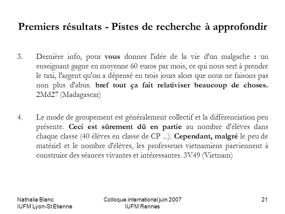 Nathalie Blanc IUFM Lyon-St Etienne Colloque international juin 2007 IUFM Rennes 21 Premiers résultats - Pistes de recherche à approfondir 3.Dernière