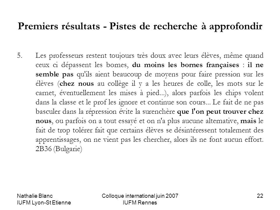 Nathalie Blanc IUFM Lyon-St Etienne Colloque international juin 2007 IUFM Rennes 22 Premiers résultats - Pistes de recherche à approfondir 5.Les profe