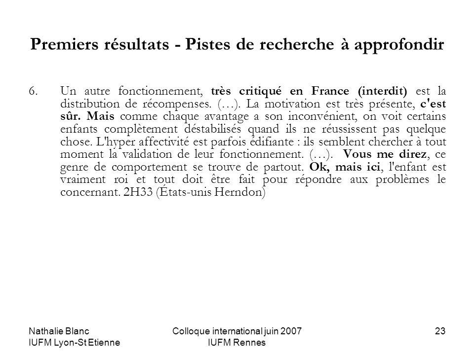 Nathalie Blanc IUFM Lyon-St Etienne Colloque international juin 2007 IUFM Rennes 23 Premiers résultats - Pistes de recherche à approfondir 6. Un autre