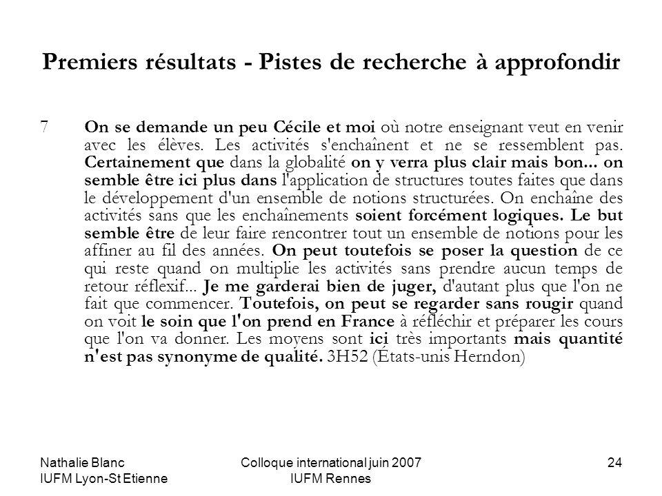 Nathalie Blanc IUFM Lyon-St Etienne Colloque international juin 2007 IUFM Rennes 24 Premiers résultats - Pistes de recherche à approfondir 7On se dema