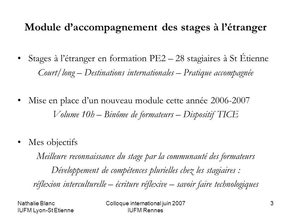 Nathalie Blanc IUFM Lyon-St Etienne Colloque international juin 2007 IUFM Rennes 3 Module daccompagnement des stages à létranger Stages à létranger en