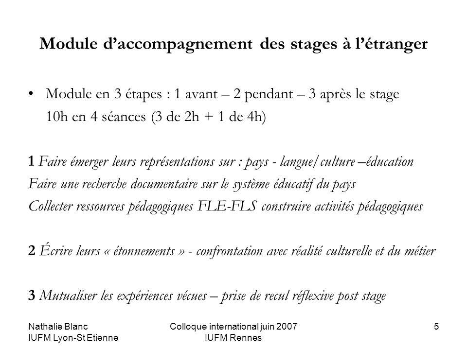 Nathalie Blanc IUFM Lyon-St Etienne Colloque international juin 2007 IUFM Rennes 5 Module daccompagnement des stages à létranger Module en 3 étapes :