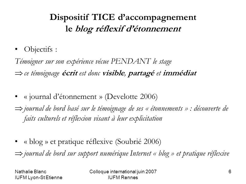 Nathalie Blanc IUFM Lyon-St Etienne Colloque international juin 2007 IUFM Rennes 6 Dispositif TICE daccompagnement le blog réflexif détonnement Object
