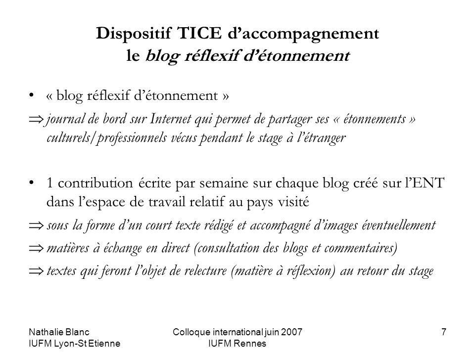 Nathalie Blanc IUFM Lyon-St Etienne Colloque international juin 2007 IUFM Rennes 7 Dispositif TICE daccompagnement le blog réflexif détonnement « blog