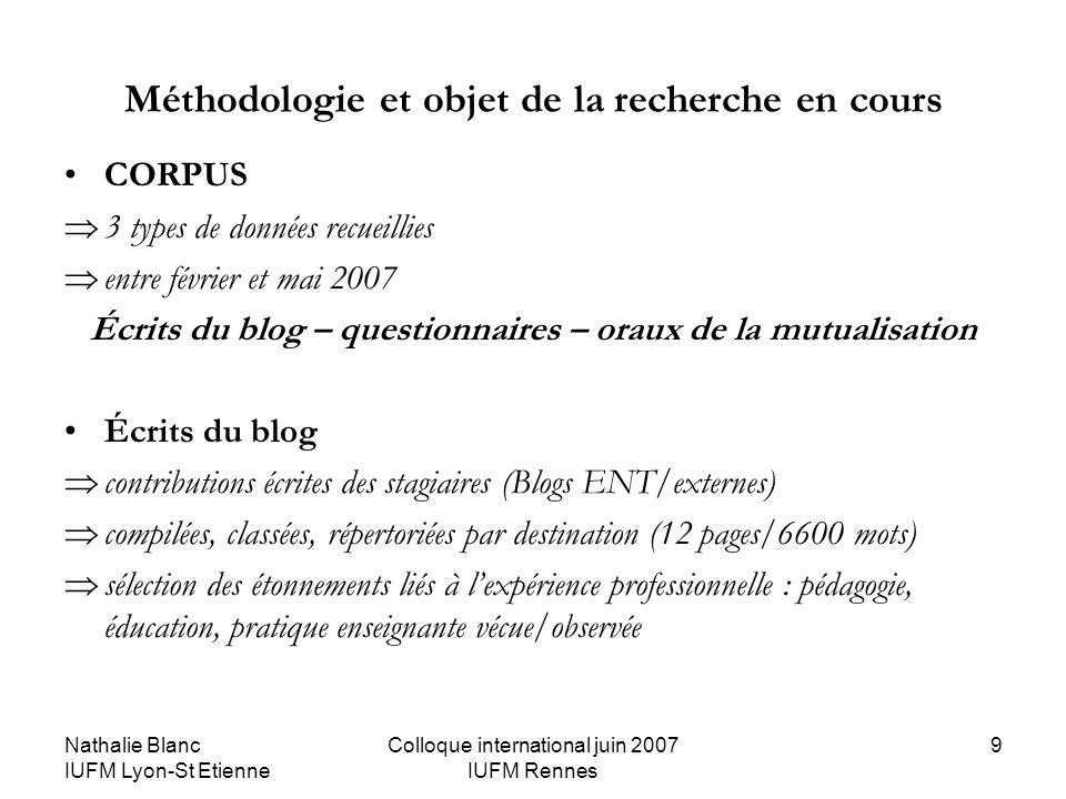 Nathalie Blanc IUFM Lyon-St Etienne Colloque international juin 2007 IUFM Rennes 9 Méthodologie et objet de la recherche en cours CORPUS 3 types de do