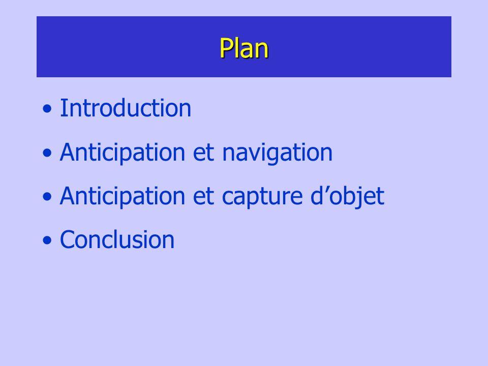 Plan Introduction Anticipation et navigation Anticipation et capture dobjet Conclusion