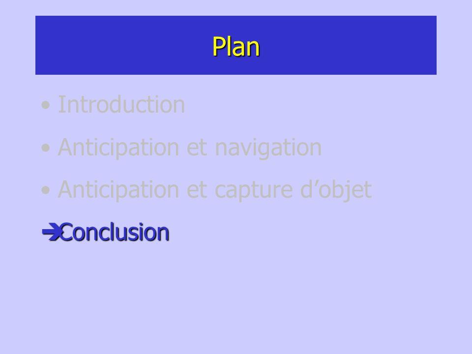 Plan Introduction Anticipation et navigation Anticipation et capture dobjet Conclusion Conclusion