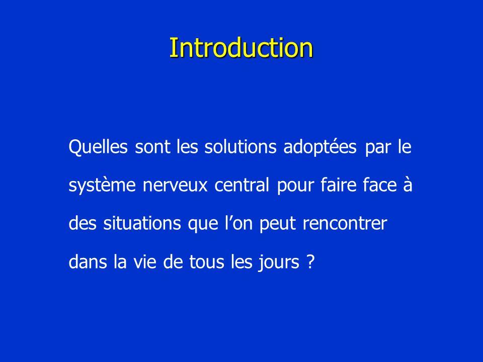 Introduction Quelles sont les solutions adoptées par le système nerveux central pour faire face à des situations que lon peut rencontrer dans la vie d