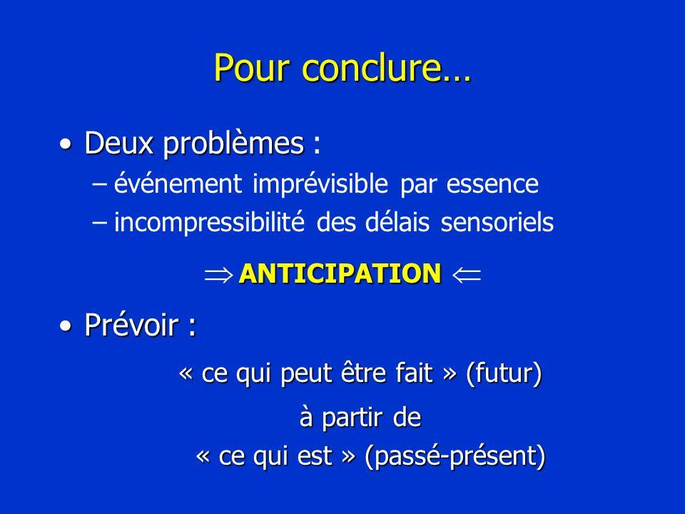 Pour conclure… Deux problèmesDeux problèmes : –événement imprévisible par essence –incompressibilité des délais sensoriels ANTICIPATION ANTICIPATION P