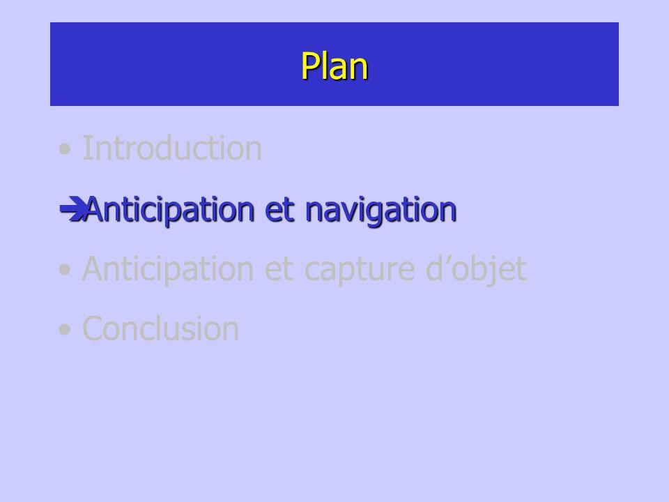 Plan Introduction Anticipation et navigation Anticipation et navigation Anticipation et capture dobjet Conclusion