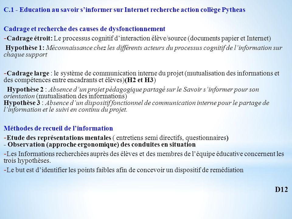 C.1 - Education au savoir sinformer sur Internet recherche action collège Pytheas Cadrage et recherche des causes de dysfonctionnement - Cadrage étroit: Le processus cognitif dinteraction élève/source (documents papier et Internet) Hypothèse 1: Méconnaissance chez les différents acteurs du processus cognitif de linformation sur chaque support - Cadrage large : le système de communication interne du projet (mutualisation des informations et des compétences entre encadrants et élèves)(H2 et H3) Hypothèse 2 : Absence dun projet pédagogique partagé sur le Savoir sinformer pour son orientation (mutualisation des informations) Hypothèse 3 : Absence dun dispositif fonctionnel de communication interne pour le partage de linformation et le suivi en continu du projet.
