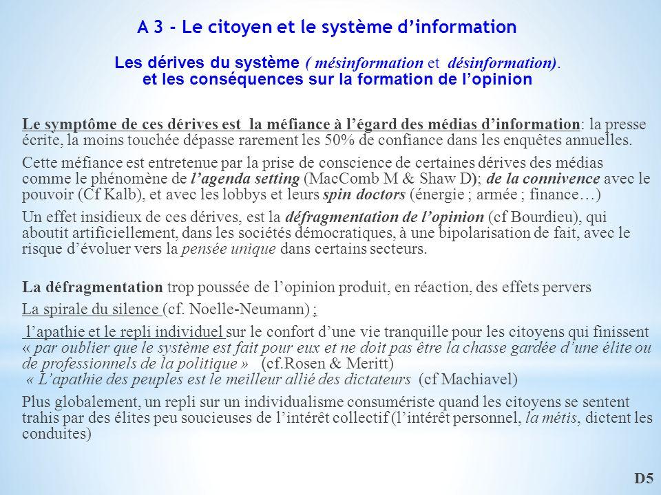 Les dérives du système ( mésinformation et désinformation).