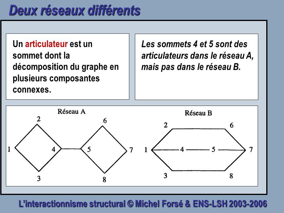 Linteractionnisme structural © Michel Forsé & ENS-LSH 2003-2006 Deux réseaux différents Un articulateur est un sommet dont la décomposition du graphe