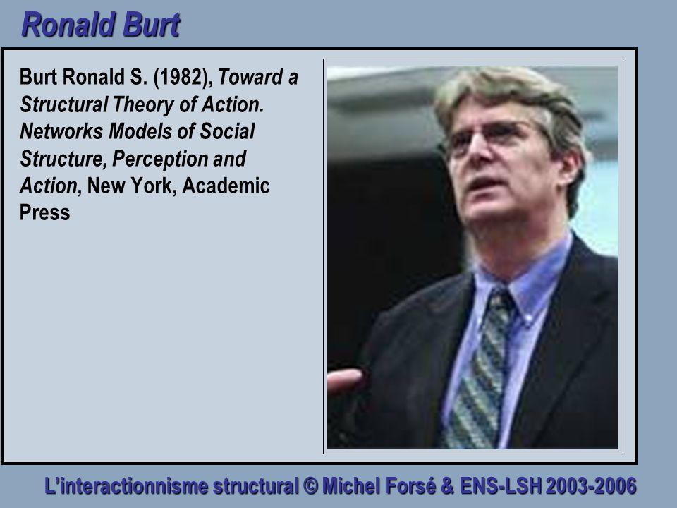 Linteractionnisme structural © Michel Forsé & ENS-LSH 2003-2006 Ronald Burt Burt Ronald S. (1982), Toward a Structural Theory of Action. Networks Mode
