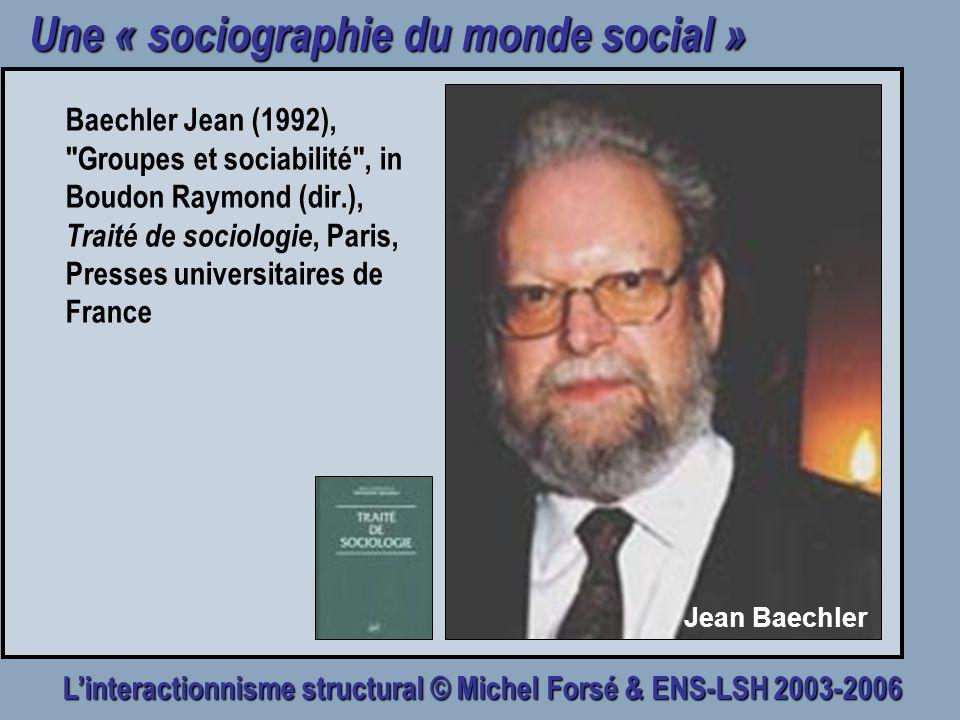 Linteractionnisme structural © Michel Forsé & ENS-LSH 2003-2006 Une « sociographie du monde social » Baechler Jean (1992),
