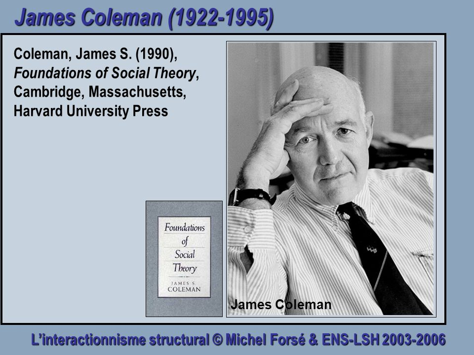 Linteractionnisme structural © Michel Forsé & ENS-LSH 2003-2006 James Coleman (1922-1995) Coleman, James S. (1990), Foundations of Social Theory, Camb