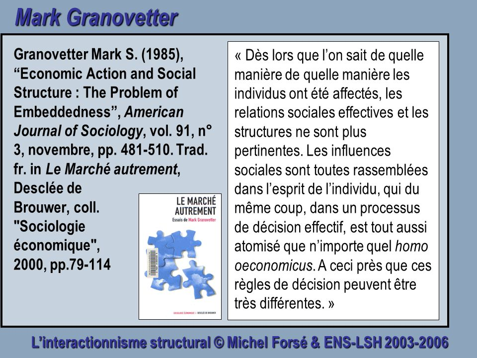 Linteractionnisme structural © Michel Forsé & ENS-LSH 2003-2006 Mark Granovetter Granovetter Mark S. (1985), Economic Action and Social Structure : Th