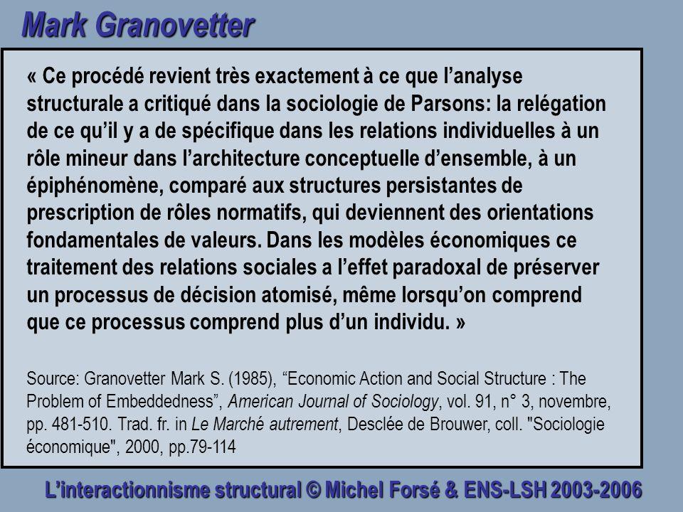 Linteractionnisme structural © Michel Forsé & ENS-LSH 2003-2006 Mark Granovetter « Ce procédé revient très exactement à ce que lanalyse structurale a