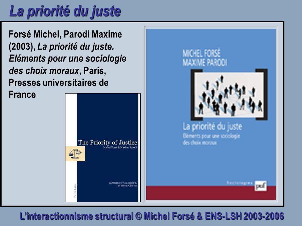 Linteractionnisme structural © Michel Forsé & ENS-LSH 2003-2006 La priorité du juste Forsé Michel, Parodi Maxime (2003), La priorité du juste. Elément