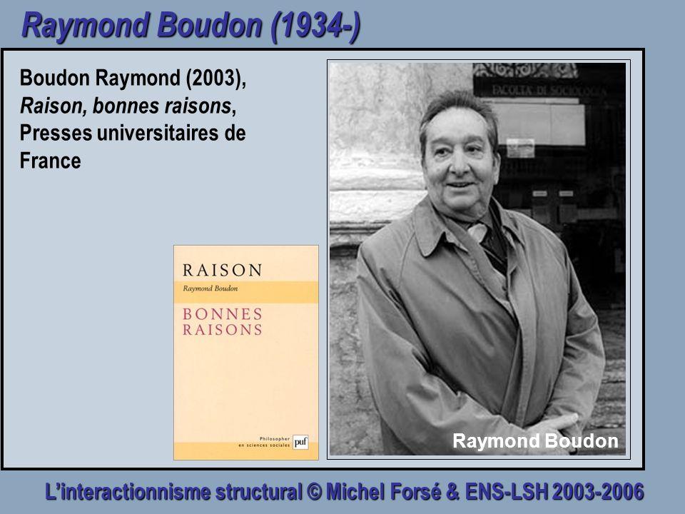 Linteractionnisme structural © Michel Forsé & ENS-LSH 2003-2006 Raymond Boudon (1934-) Boudon Raymond (2003), Raison, bonnes raisons, Presses universi