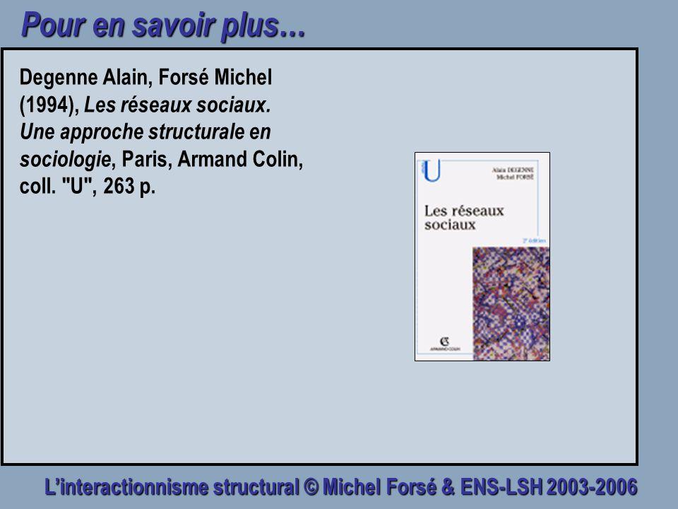 Linteractionnisme structural © Michel Forsé & ENS-LSH 2003-2006 Pour en savoir plus… Degenne Alain, Forsé Michel (1994), Les réseaux sociaux. Une appr