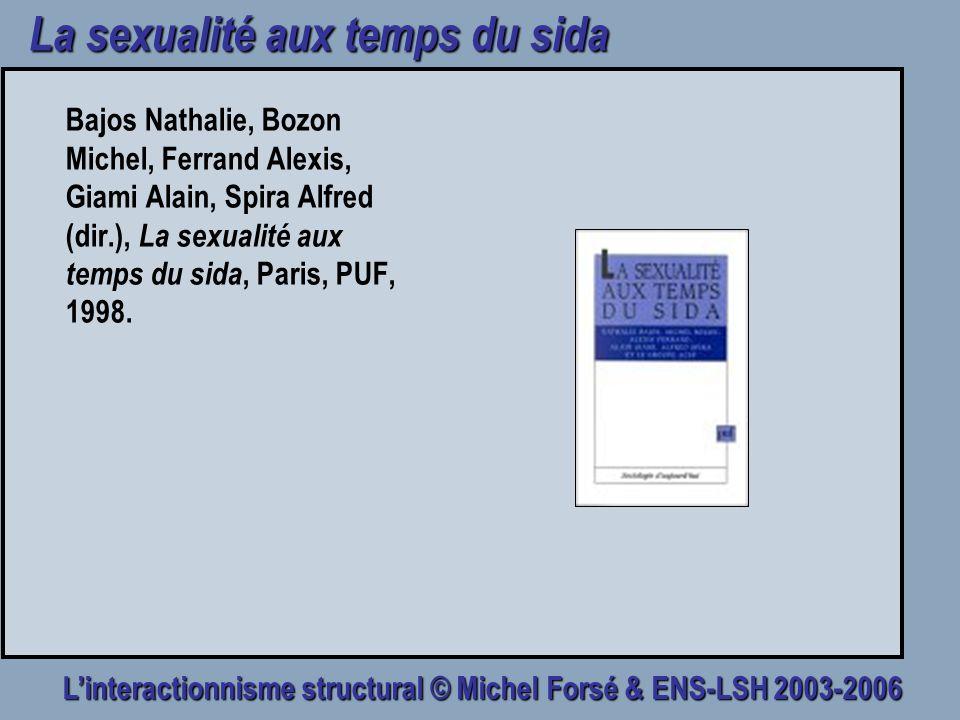 Linteractionnisme structural © Michel Forsé & ENS-LSH 2003-2006 La sexualité aux temps du sida Bajos Nathalie, Bozon Michel, Ferrand Alexis, Giami Ala