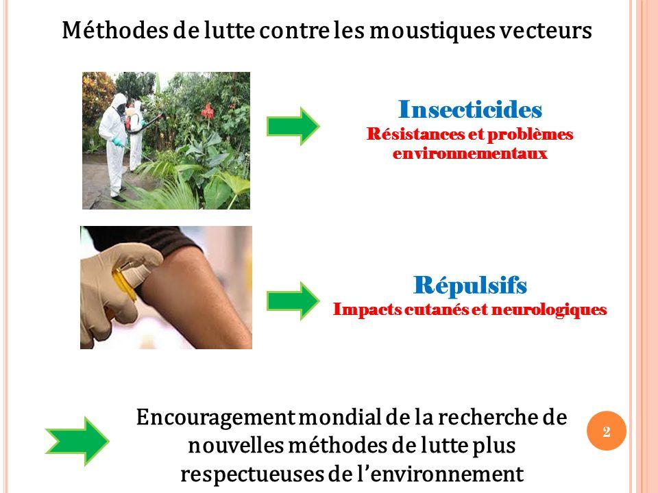 2 Méthodes de lutte contre les moustiques vecteurs Insecticides Résistances et problèmes environnementaux Encouragement mondial de la recherche de nou