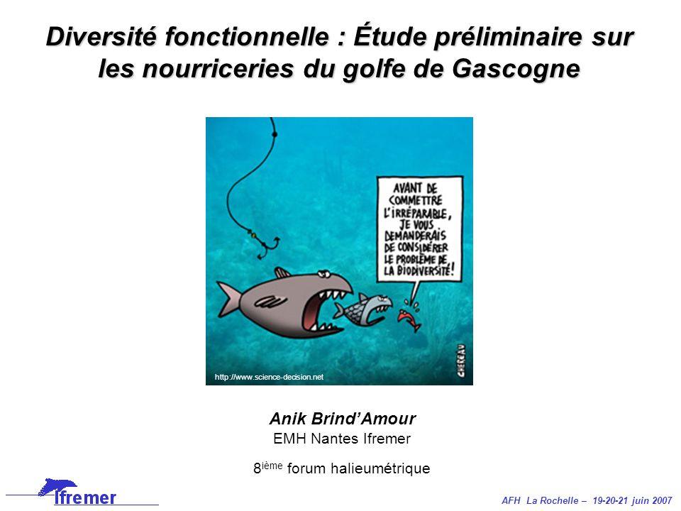 AFH La Rochelle – 19-20-21 juin 2007 Anik BrindAmour EMH Nantes Ifremer 8 ième forum halieumétrique Diversité fonctionnelle : Étude préliminaire sur l