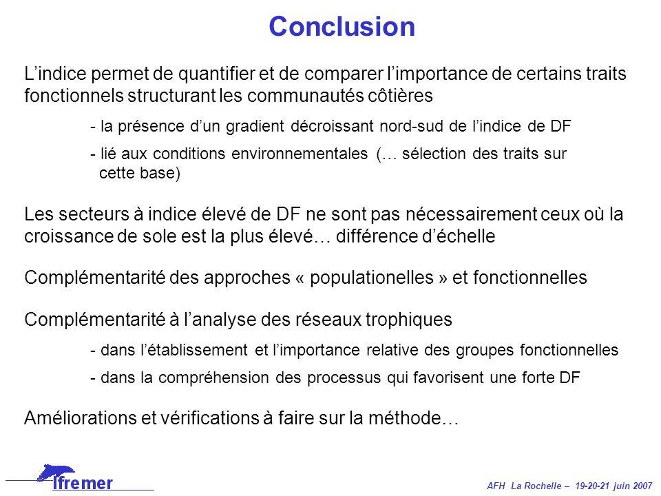 AFH La Rochelle – 19-20-21 juin 2007 Conclusion Lindice permet de quantifier et de comparer limportance de certains traits fonctionnels structurant le