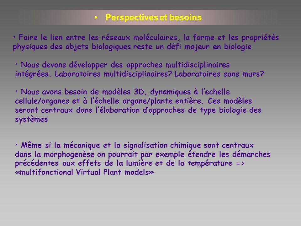 Perspectives et besoins Nous devons développer des approches multidisciplinaires intégrées. Laboratoires multidisciplinaires? Laboratoires sans murs?