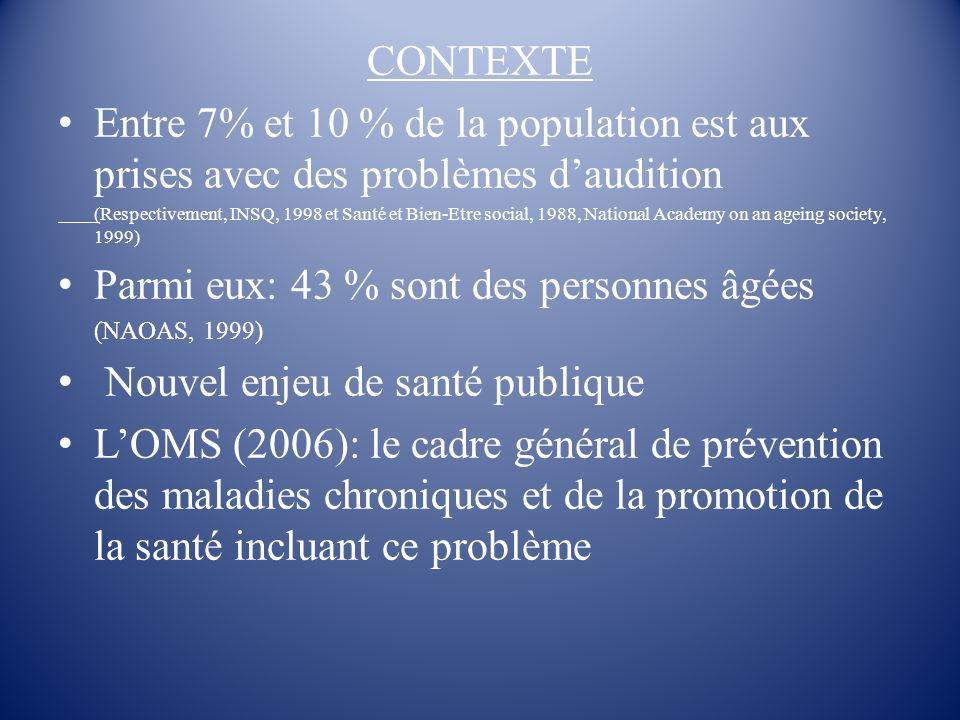 CONTEXTE Entre 7% et 10 % de la population est aux prises avec des problèmes daudition (Respectivement, INSQ, 1998 et Santé et Bien-Etre social, 1988,