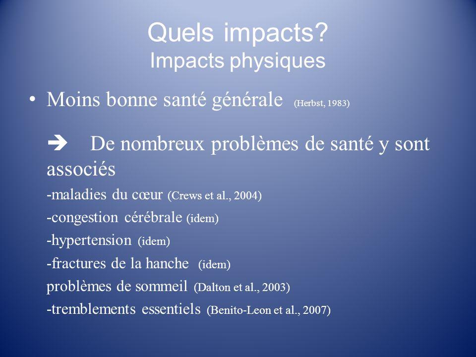 Quels impacts? Impacts physiques Moins bonne santé générale (Herbst, 1983) De nombreux problèmes de santé y sont associés -maladies du cœur (Crews et
